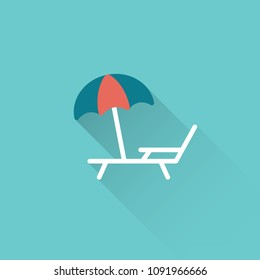 flat deckchair with umbrella color icon on blue background