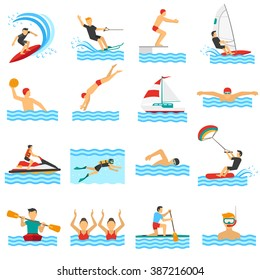 Flat decorative icons set of rowing swimming windsurfing waterpolo with people in water sport isolated vector illustration