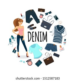 Flat denim round concept with pretty woman jeans clothing lipstick powder nail polish clutch bag sunglasses phone earrings vector illustration