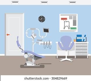 flat dentist office illustration design background.  vector EPS