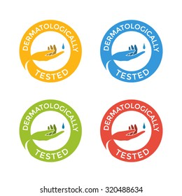Flat Dermatologically Tested Round Badges, Colorful Set of Stickers Isolated on White