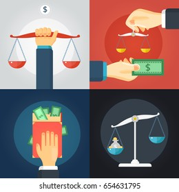 Flat design 2x law composition set with balance scale and cash money on colorful backgrounds isolated vector illustration