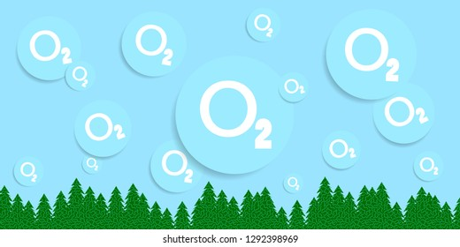 Flat Design With 3D Abstract Oxygen Ball. Save World. Environmental Concept. O2 (Oxygen). For Placards, Banners, Presentations, Reports, Card And Wallpaper.Vector Illustration. Eps 10