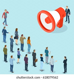 Flat design 3d isometric businessman promoter with loudspeaker talking to crowd.  Megaphone alert promotion and propaganda  vector template.