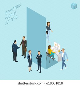 Flat design 3d light isometric typeface letters decorated with office workplace scenes, working, communicating, acting people, sitting and standing, front and back view. Letter L