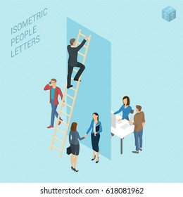 Flat design 3d light isometric typeface letters decorated with office workplace scenes, working, communicating, acting people, sitting and standing, front and back view. Letter I
