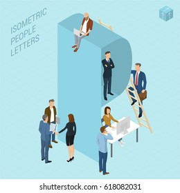 Flat design 3d light isometric typeface letters decorated with office workplace scenes, working, communicating, acting people, sitting and standing, front and back view. Letter P