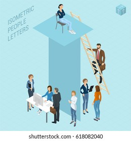 Flat design 3d light isometric typeface letters decorated with office workplace scenes, working, communicating, acting people, sitting and standing, front and back view. Letter T