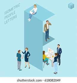 Flat design 3d light isometric typeface letters decorated with office workplace scenes, working, communicating, acting people, sitting and standing, front and back view. Letter F