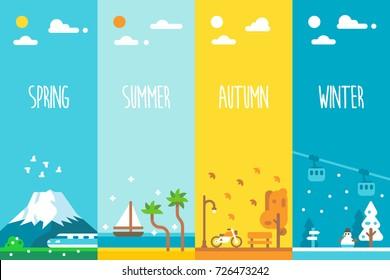 Flat design 4 seasons background illustration vector