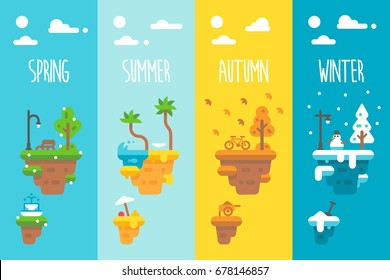Flat design 4 seasons floating islands illustration vector