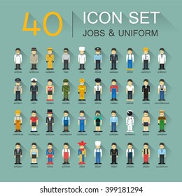 Flat design, 40 icon set of job and uniform with shadow.