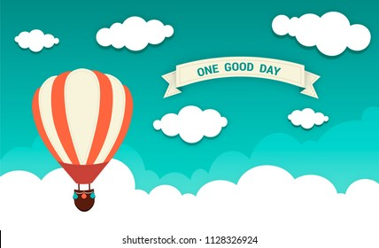 Flat design, Air balloon in the green sky with cloud website background