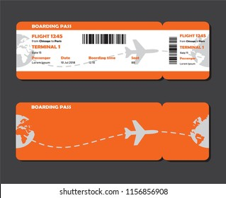 Flat design of airline travel boarding pass. Tickets vector template or mock up isolated on grey background.