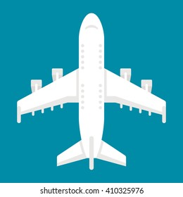 Flat design airplane top view illustration vector