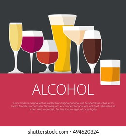 Flat design alcohol concept. Glasses with alcohol. Vector illustration background.