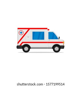 flat design ambulance car for medical emergencies isolated white background