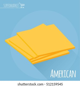 Flat design American cheese vector icon  on light blue background with long shadow