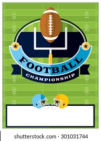 A flat design American Football championship flyer, invitation, or poster. Room for copy. Vector EPS 10.