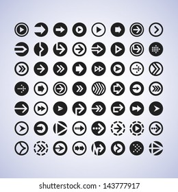 Flat design arrow icon mega set. Arrows in circle vector pack for user interface, mobile apps and web design