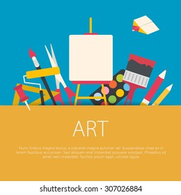 Flat design art concept. Art equipment background. Vector illustration.