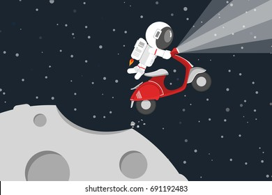 Flat design, Astronaut driving red motorcycle drifting out into space at the moon, Vector illustration, Infographic Element