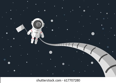 Flat design, Astronauts holding a flag in space, Vector illustration, Infographic Element