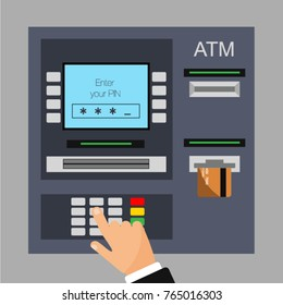 Flat design of ATM machine with credit card. Entered PIN. Withdrawing money from ATM. Using automat terminal. Vector illustration. Isolated.