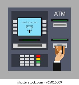 Flat design of ATM machine with hand. Inserting credit card to ATM. Using automat terminal. Vector illustration. Isolated.