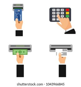 Flat design of ATM terminal usage concept. Step-by-step instructions for using ATM. Hand pushing credit card into atm machine slot and getting money. Entering PIN and getting receipt.