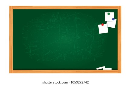 Flat design of attrition blackboard background and wooden frame. Empty clean with scratches green chalkboard. Vector illustration isolated on white background