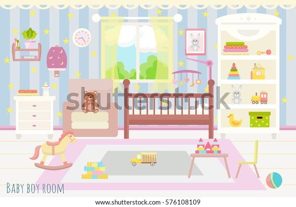 Image vectorielle de stock de Design plat. Bébé chambre avec