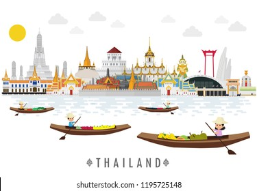Flat design, Bangkok in Thailand and Landmarks and travel place,temple on boat in floating market
