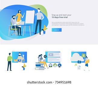 Flat design banner and elements of distance education, video tutorial, online training courses, education apps, annual teaching plan, for website design.