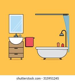 Flat design of bathroom