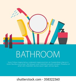 Flat design bathroom concept. Bathroom equipment background. Vector illustration.