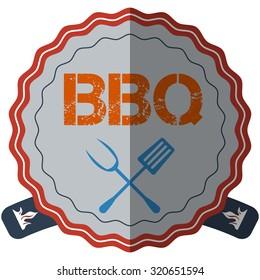 flat design bbq, grill; restaurant; steak; retro vintage badges, ribbons and labels hipster signboard