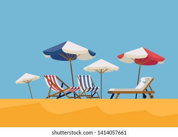 Flat design beachfront resort concept vector illustration with chaise lounge chairs and sunshade umbrellas. Hot summer vacation background
