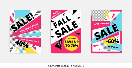 Flat design Black Big sale website banner template set. Bright colorful vector for social media, posters, email, print, ads, promotional material. Yellow Pink Blue black and white