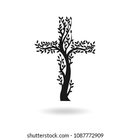 Flat design of black Christian cross in the form of tree. Tree's shape with shadow on a white background. Vector illustration.