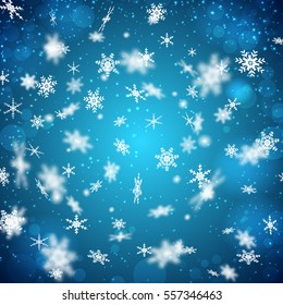 Flat design blue background with falling white snowflakes of different shape vector illustration