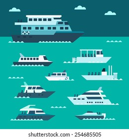 Flat design of boat set illustration vector