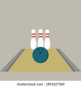 Flat design bowling vector graphics