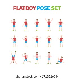 Flat design boy character pose set, vector illustration