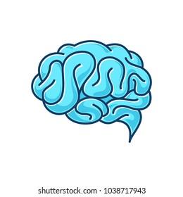 Flat design brain icon.