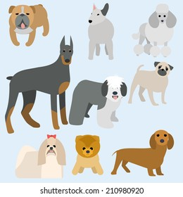 flat design breeds of dogs collection. Part 1