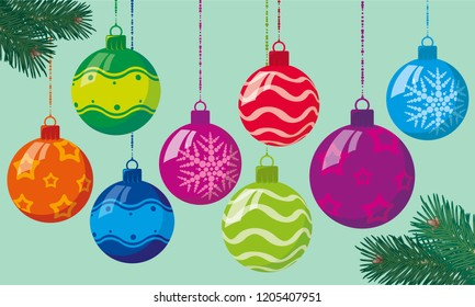 Flat design bright color christmas decoration ornamental ball vector set.