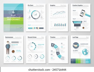 Flat design brochures and infographic business elements. Big set of modern infographic vector elements for web, print, magazine, flyer, brochure, media, marketing and advertising concepts.