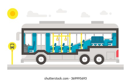 Flat design bus interior infographic illustration vector