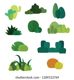 flat design bushes, hedge, live fence. isolated on white background. Beautiful set of vector green bushes in groups.